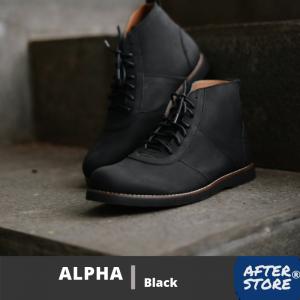 sepatu boots hitam pria alpha black