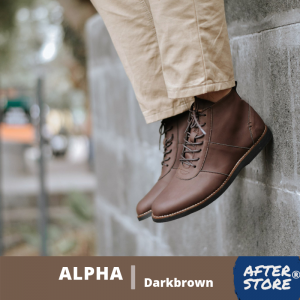 sepatu boots pria alpha darkbrown
